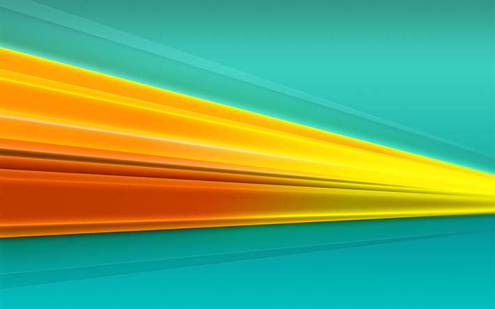 Download Wallpapers Yellow Lines 4k Art Material Design Creative Geometry Blue Background Besthqwallpapers Com Mavi Arka Planlar Geometri Sari Cizgiler