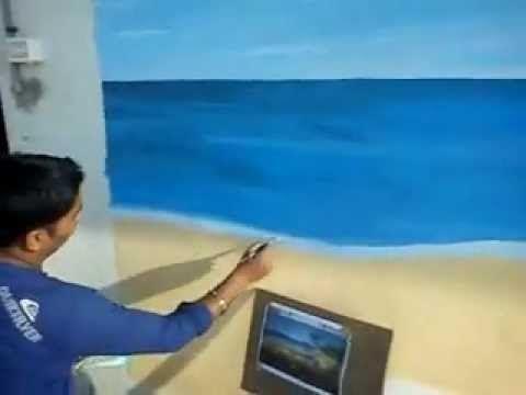 Beach Themed Wall Murals Handmade Wall Murals Painted Beach