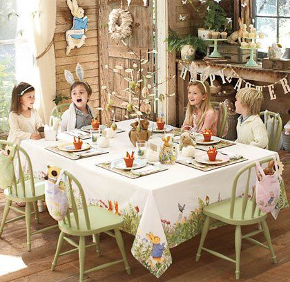 Cute Kids Easter Table Peter Rabbit Birthday Easter