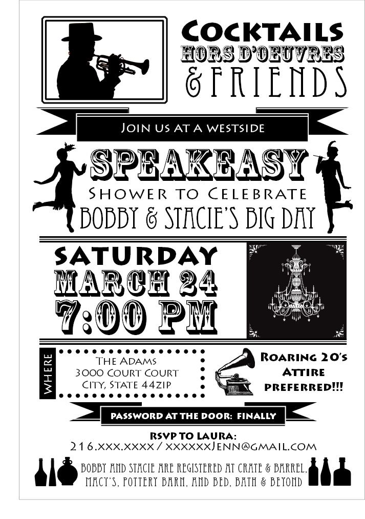 Speakeasy party invitation... I like the layout & the graphics ...