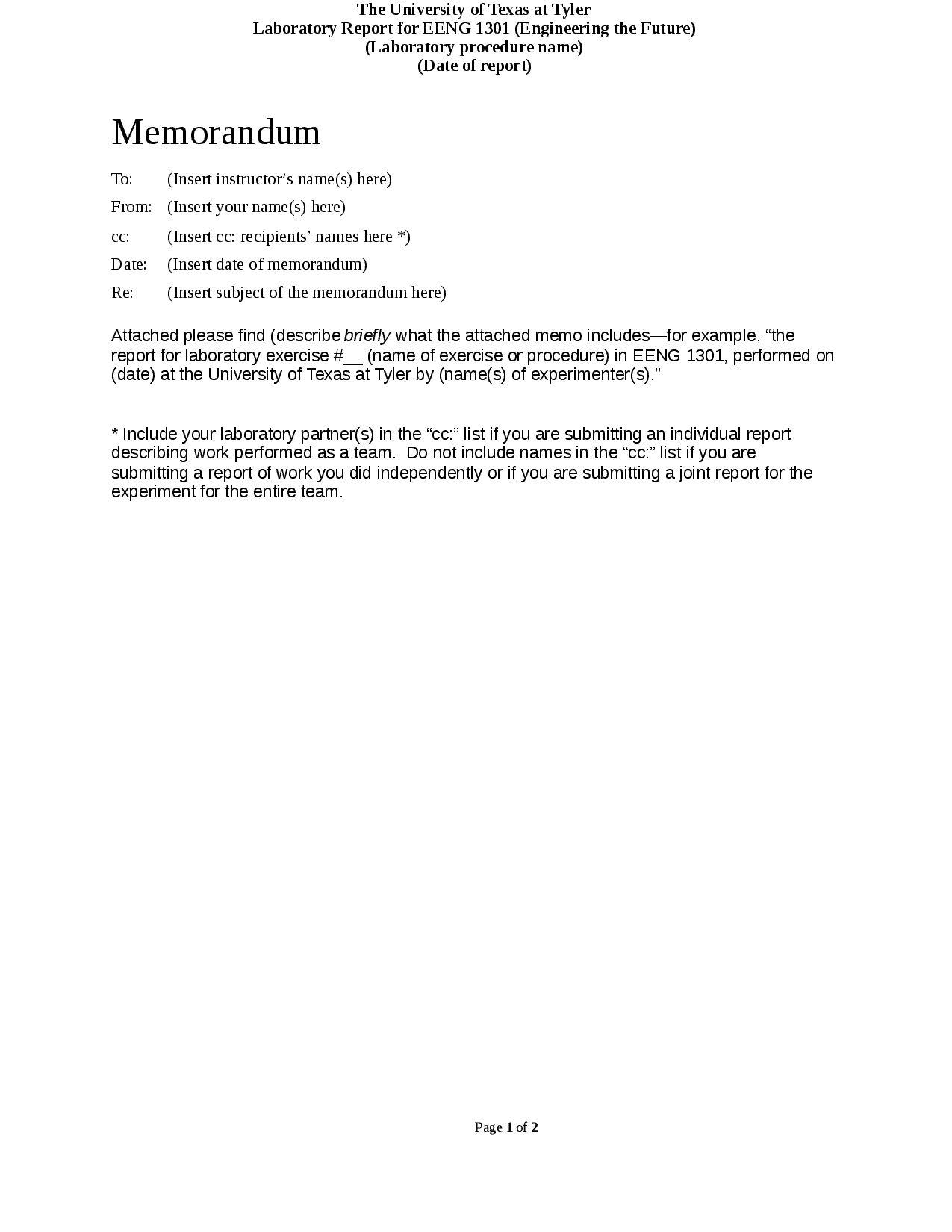 Format For Basic Memorandum Laboratory Reports