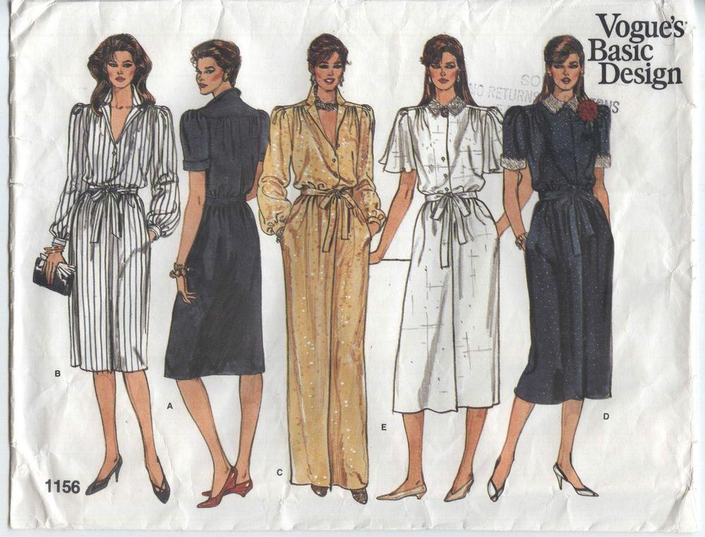 A-line Dress 3 Lengths VOGUE Sew Pattern 1156 Szs 8-10-12 Basic ...