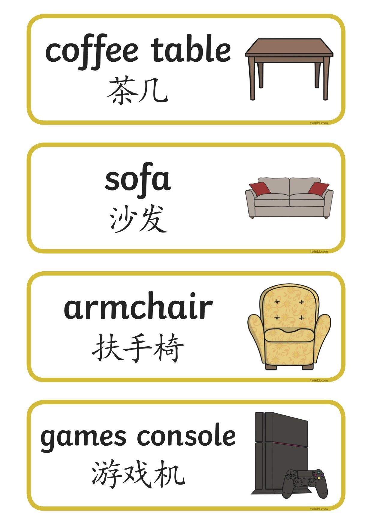 Lounge Word Cards