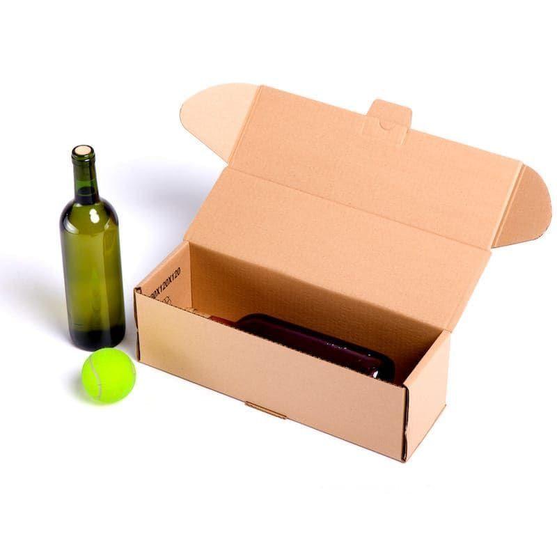 Telecajas 25x Caja Postal Para 1 Botella 38x12x12 Automontable Caja Postal Botella Vinos Estuche De Cartón Con Tapa Inc Cajas Caja De Cartón Botellas