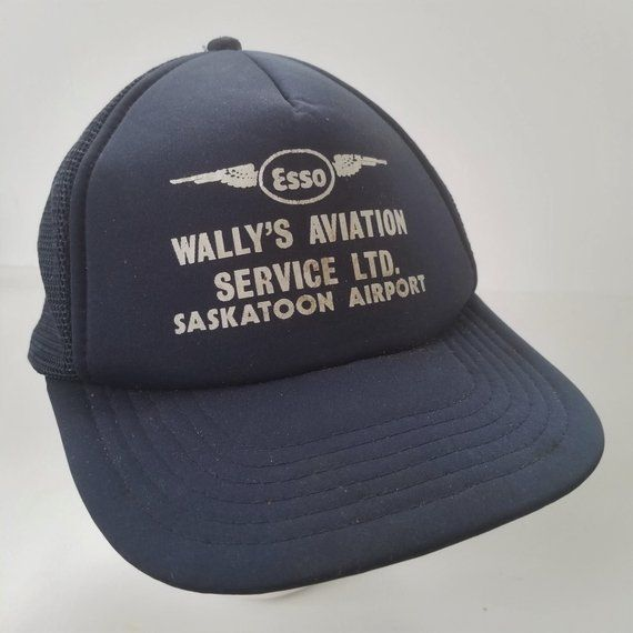 892c8faa412 Vintage Wallys Aviation Service Snapback Trucker Hat Cap Esso Saskatoon  Airport