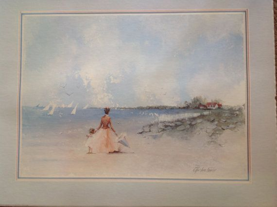 Lady and child on sand dunes by Charlene Cawley, beach ...