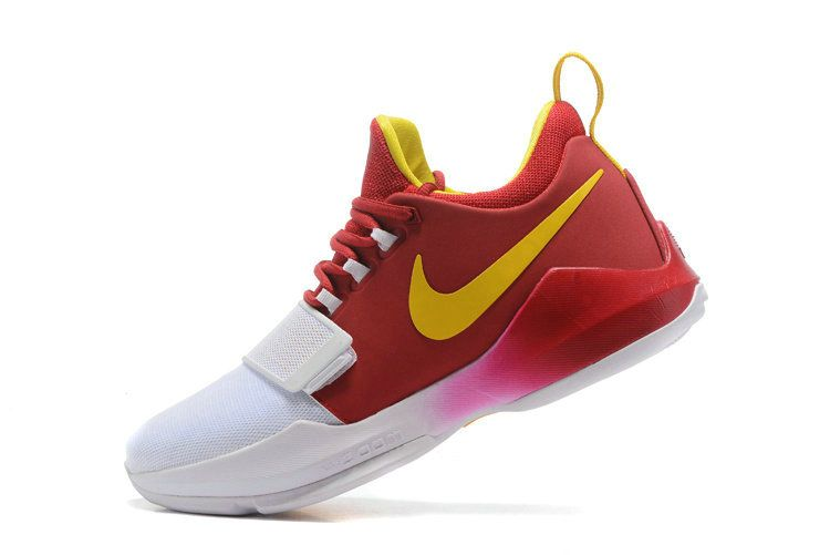 3b6b46070320 Size Euro 40 Nike PG 1 Paul George Shoes 2018 HICKORY PE Red White Gold