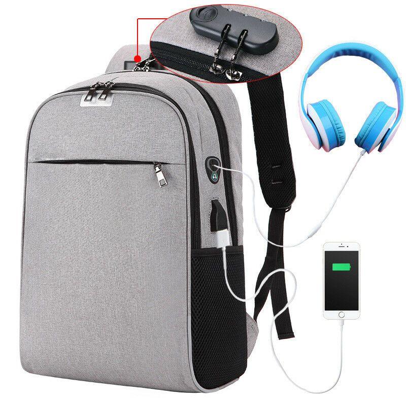 Men Women Anti-Theft External Travel Backpack Laptop USB Charge Port School Bag