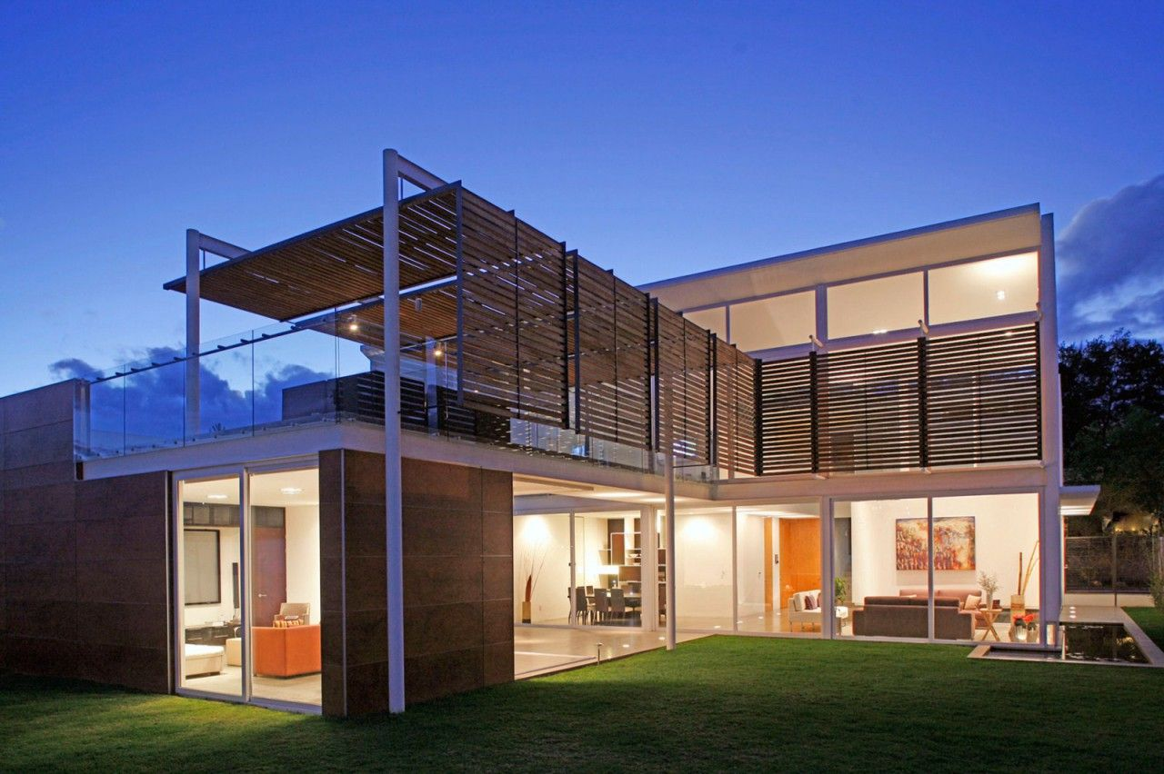 Architecture front yard modern minimalist block house design with glass sliding door and window plus wood cladding railings cover and balcony roof the