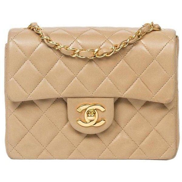 Preowned Chanel Classic Mini Flap Bag Beige Quilted Leather 3 081 Liked On Polyvore Featuring Bags Handbags Brown Long Purse Strap