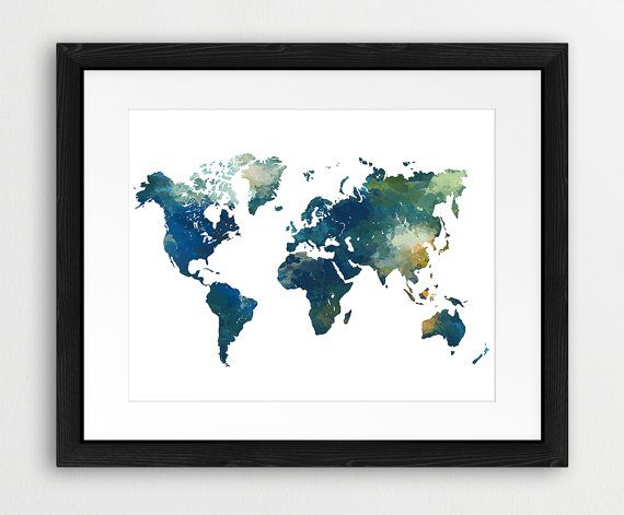 World map watercolor print world map poster watercolor teal blue world map watercolor print world map poster watercolor teal blue green modern wall art home office decor travel digital printable art gumiabroncs Gallery