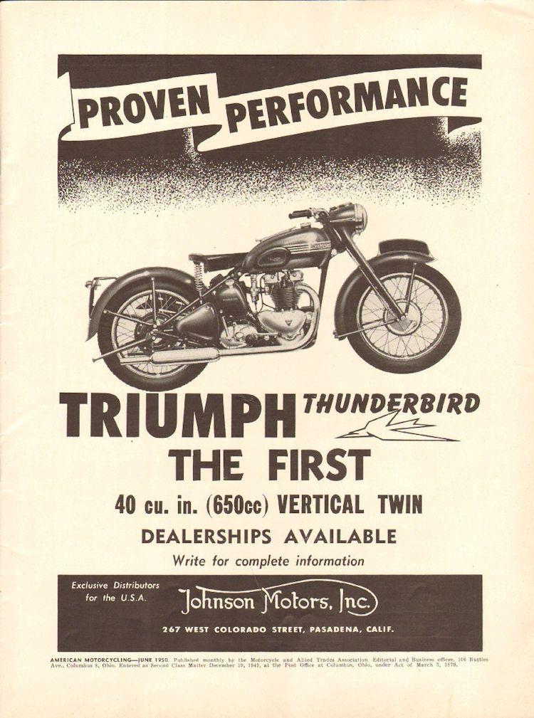 1950 Triumph Thunderbird 11 X 14 Matted Vintage Motorcycle Print Ad Art Triumph Thunderbird Triumph Motorcycles Triumph Motorbikes