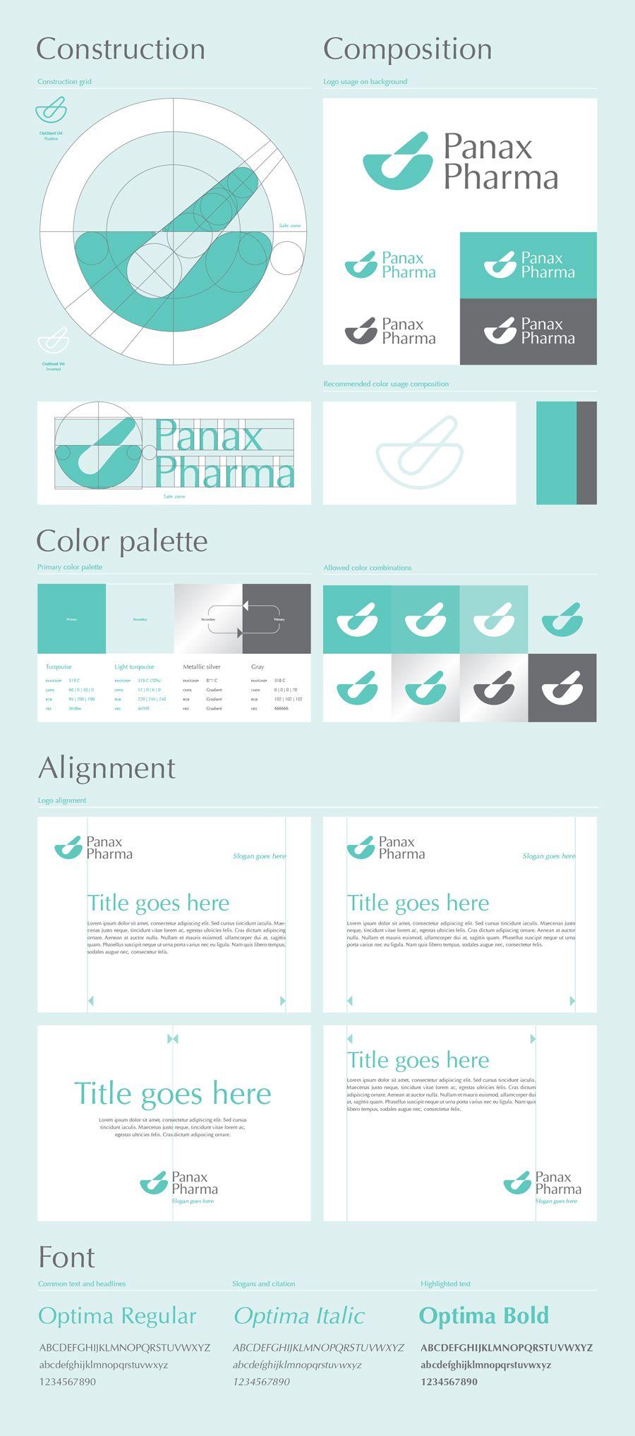 Panax Pharma logo design guidelines. Produkty