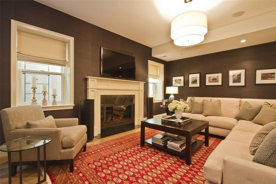 Awesome Interior, Decorating Ideas With Brown Wall Color For Small Family Room With  Fireplace: Simple