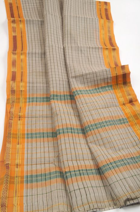 Narayanpet sari cream with umber check lines and saffron