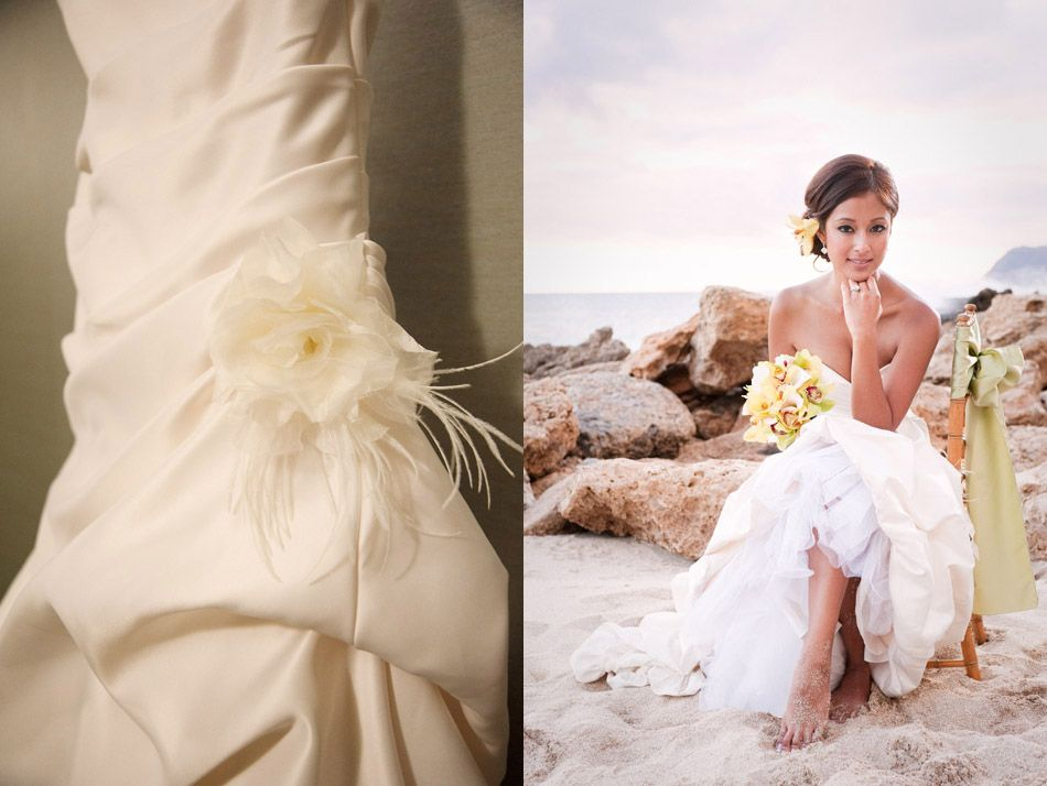 Sany's Ruched Wedding Gown With A Side Flower