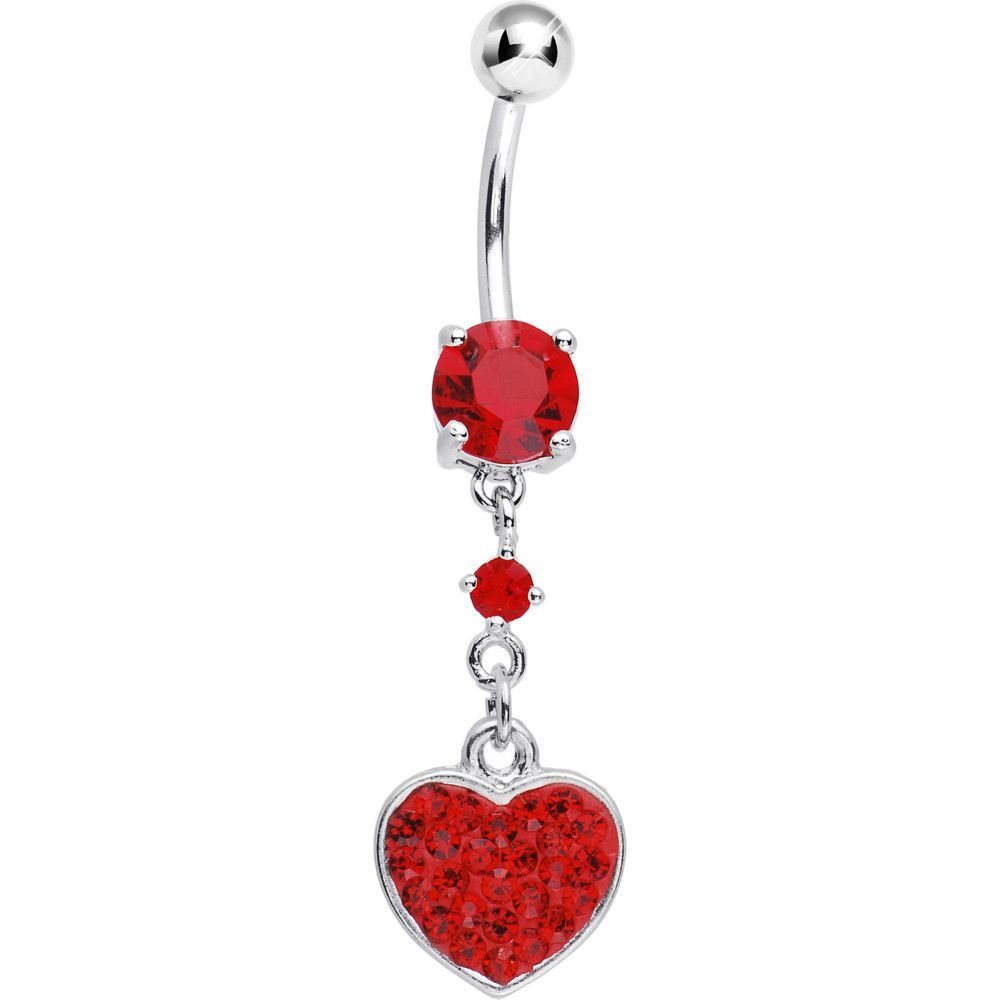 Clear red gem heart Belly Bar Navel Button ring