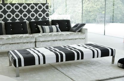 Designers Guild Domino stool in bold black and white pinstripes