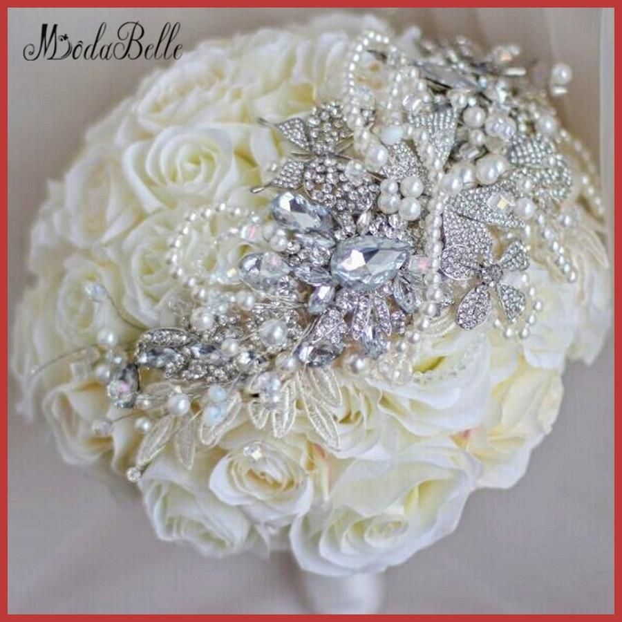 bouquet matrimonio crystal rose bridal bouquet white ivory artificial wedding bouquets diamond flowers brides bouquets brooch