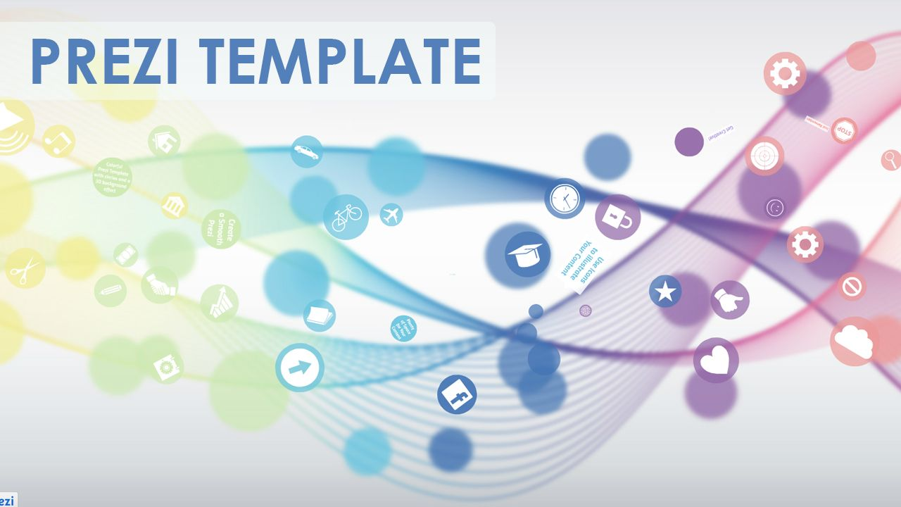 how to download prezi template - colorful prezi template with circles and a 3d background
