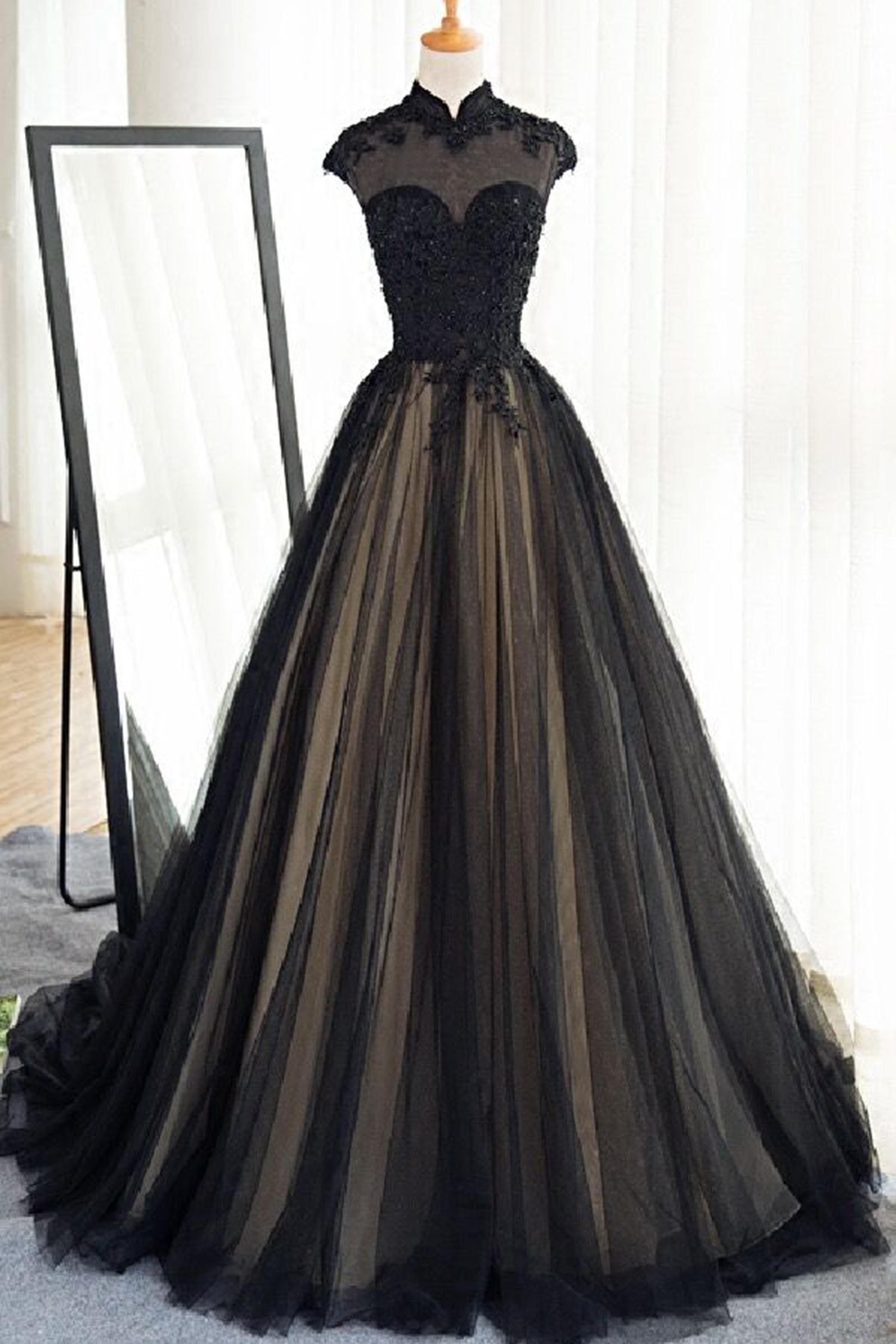 Black tulle cap sleeves floor-length long prom dresses ...