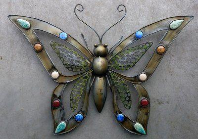 Wanddecoratie Vlinder Wanddecoratie Metaal Vlinder Van Metaal Voor Aan De Wand Met Opengewerkte Vleugels En Versierd Met Sten Decoraties Vlinders Decoratie