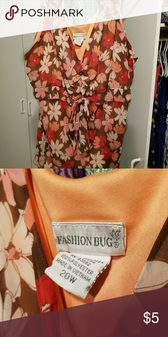 Blouse tank top Fashion Bug flowy tank, 20W, brown, Orange, pink, wide straps, bow detail. Fashion Bug Tops Blouses