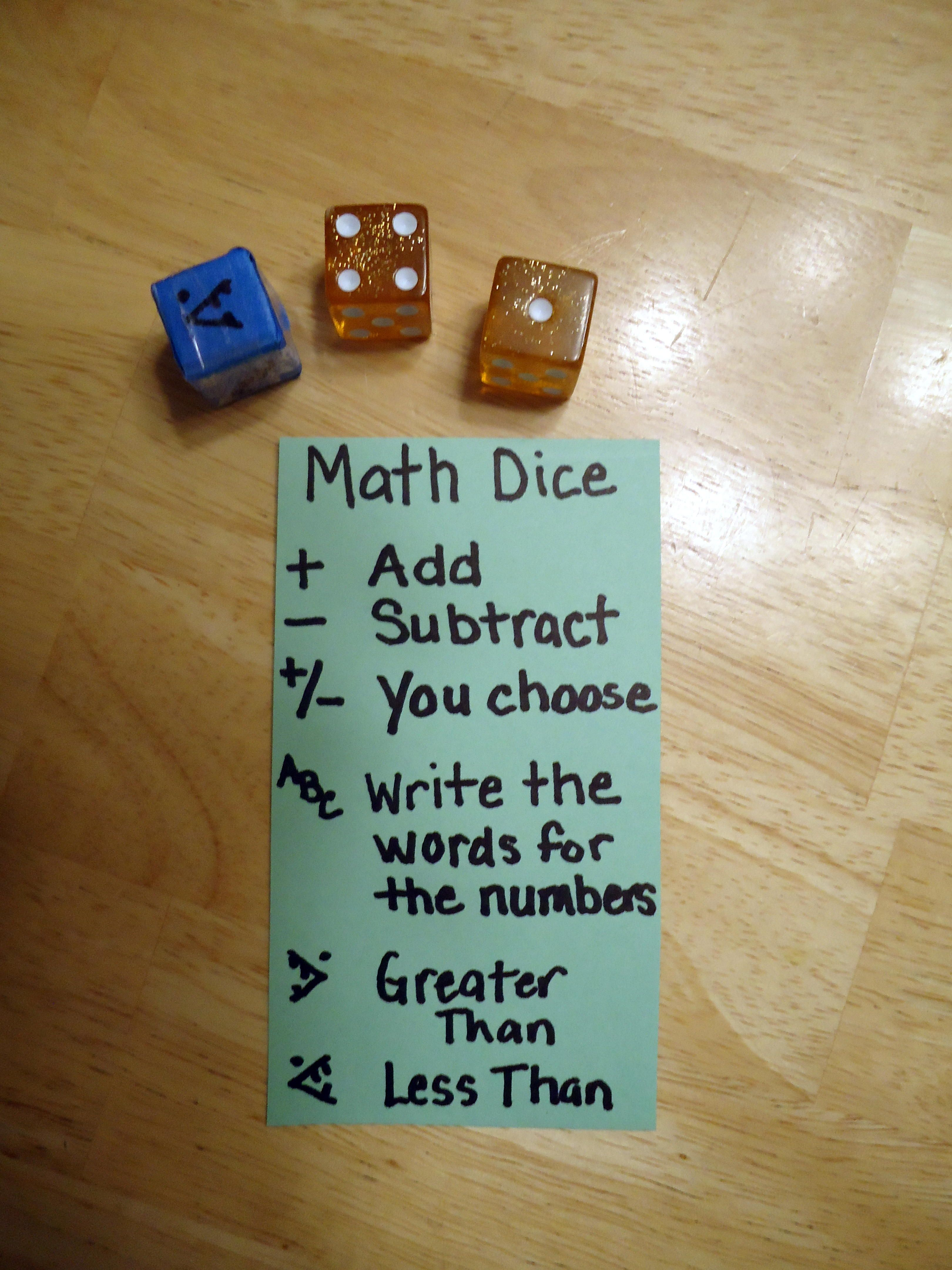 Math Dice Game As my youngest leaves K, I\'ve been preparing ...