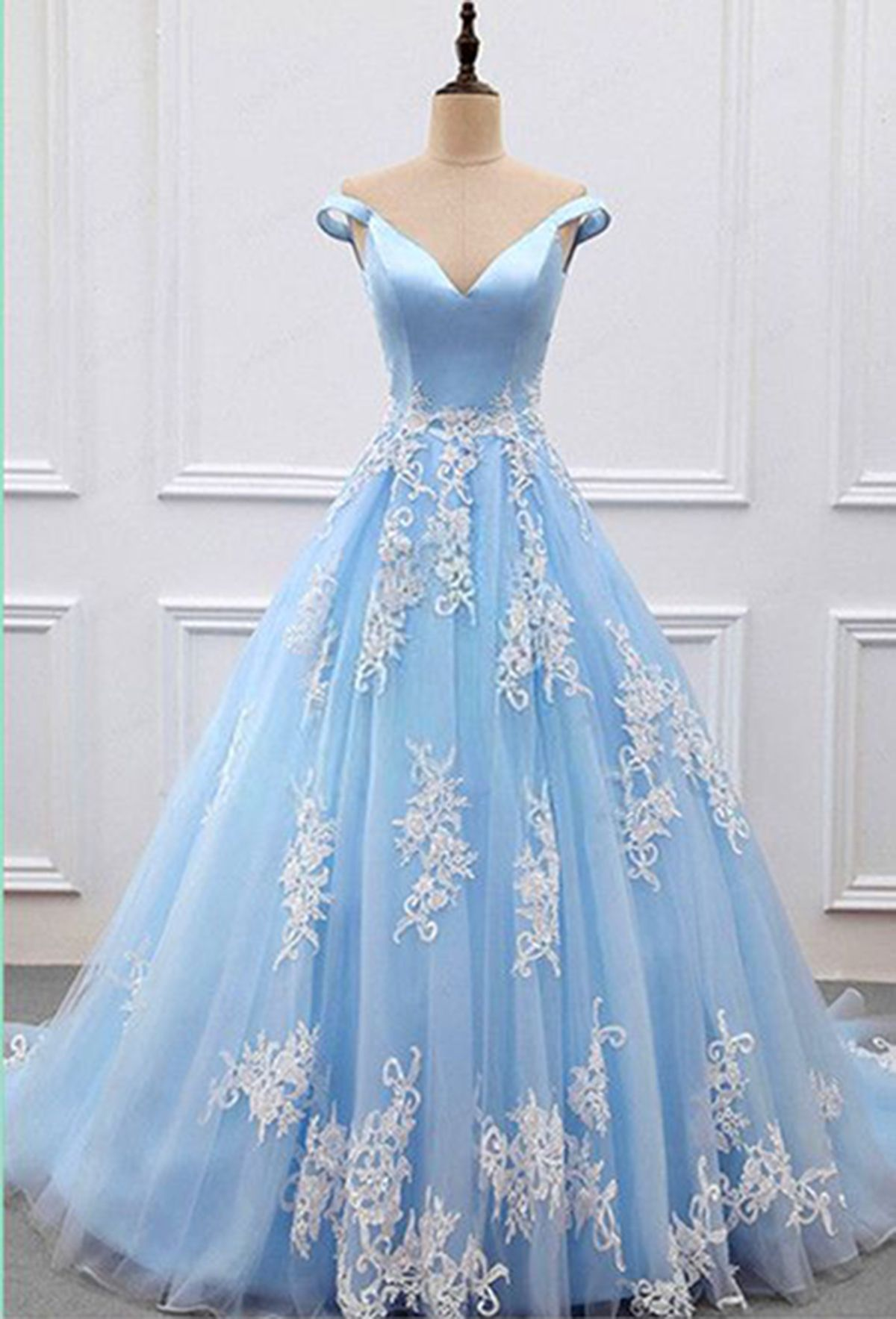 Sweet dresses stylish vneck blue tulle off shoulder prom dress