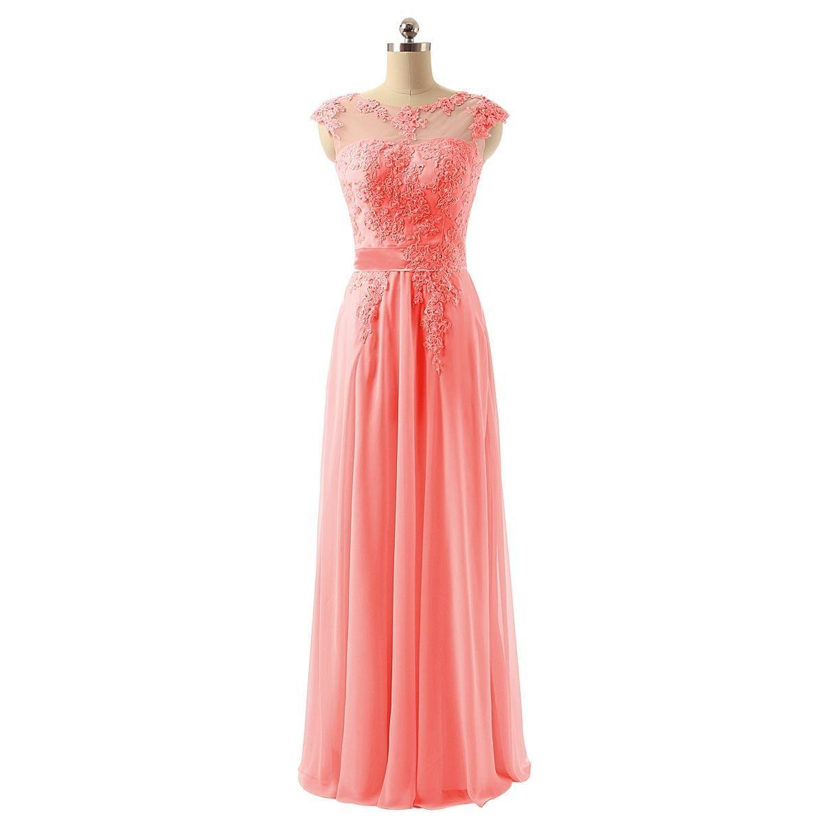 Lace Applique Chiffon Sheer Long Evening Dresses Bridesmaid Prom ...