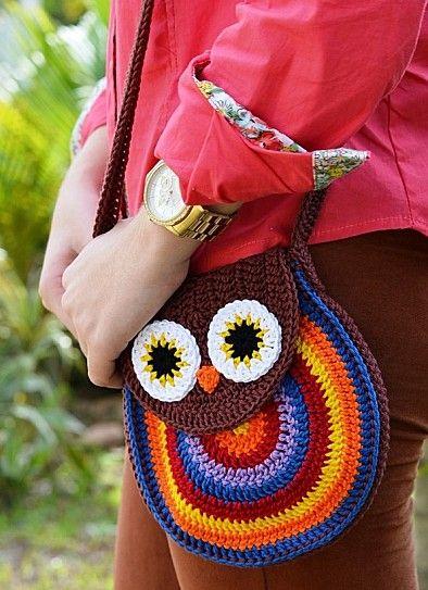 Patrones Crochet, Manualidades y Reciclado: BOLSO BÚHO PATRÓN ...