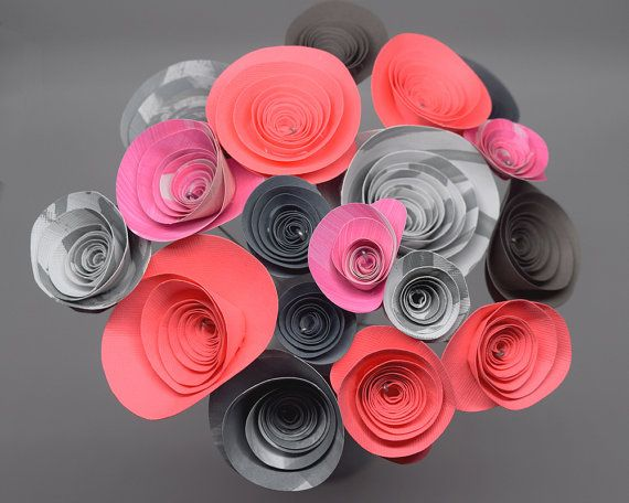 Neon Pink and Grey Paper Flower Bouquet 18 by PagesToPetalsDesigns