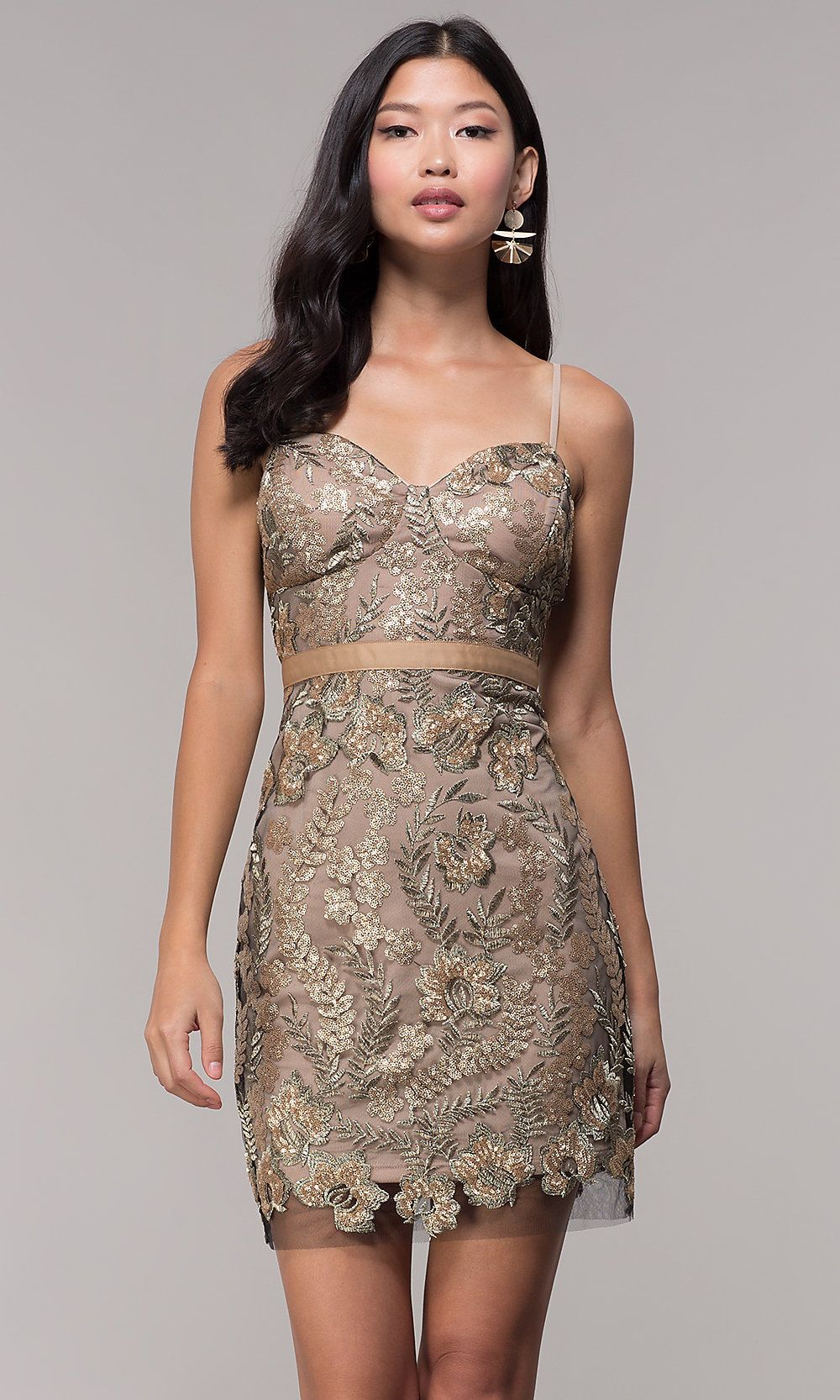Gold embroideredmesh short holiday party dress holiday