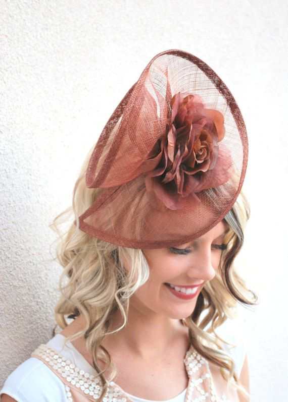 Fascinator Mocha Brown Fascinator Brown by QueenSugarBee on Etsy British  Hats e701e1059e7