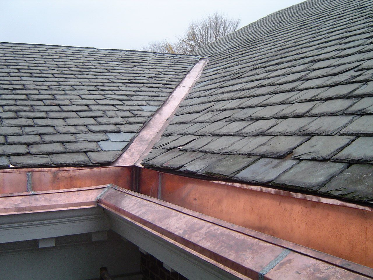 Inline Copper Gutter With Buckingham Slate In Hilton Village Newport News Virginia Roof Repair Roofing Residential Roofing