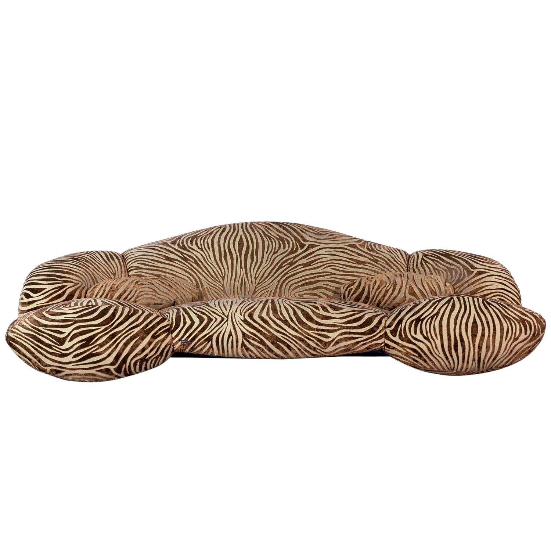 Bretz Mumba Designer Sofa Velours Fabric Brown Four Seat Couch Sofa Design Velour Fabric Sofa