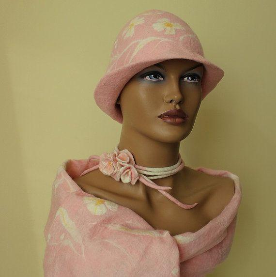 Pink hat Set of felt:  scarf,  hat,  brooch Bright pink, pastel pink. Felt scarf nunofelt, silk chiffon,  hat felt, brooch felt. wool merino via Etsy