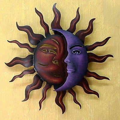 Steel Metal Wall Art Abstract Sun Moon Painted Indoor Outdoor