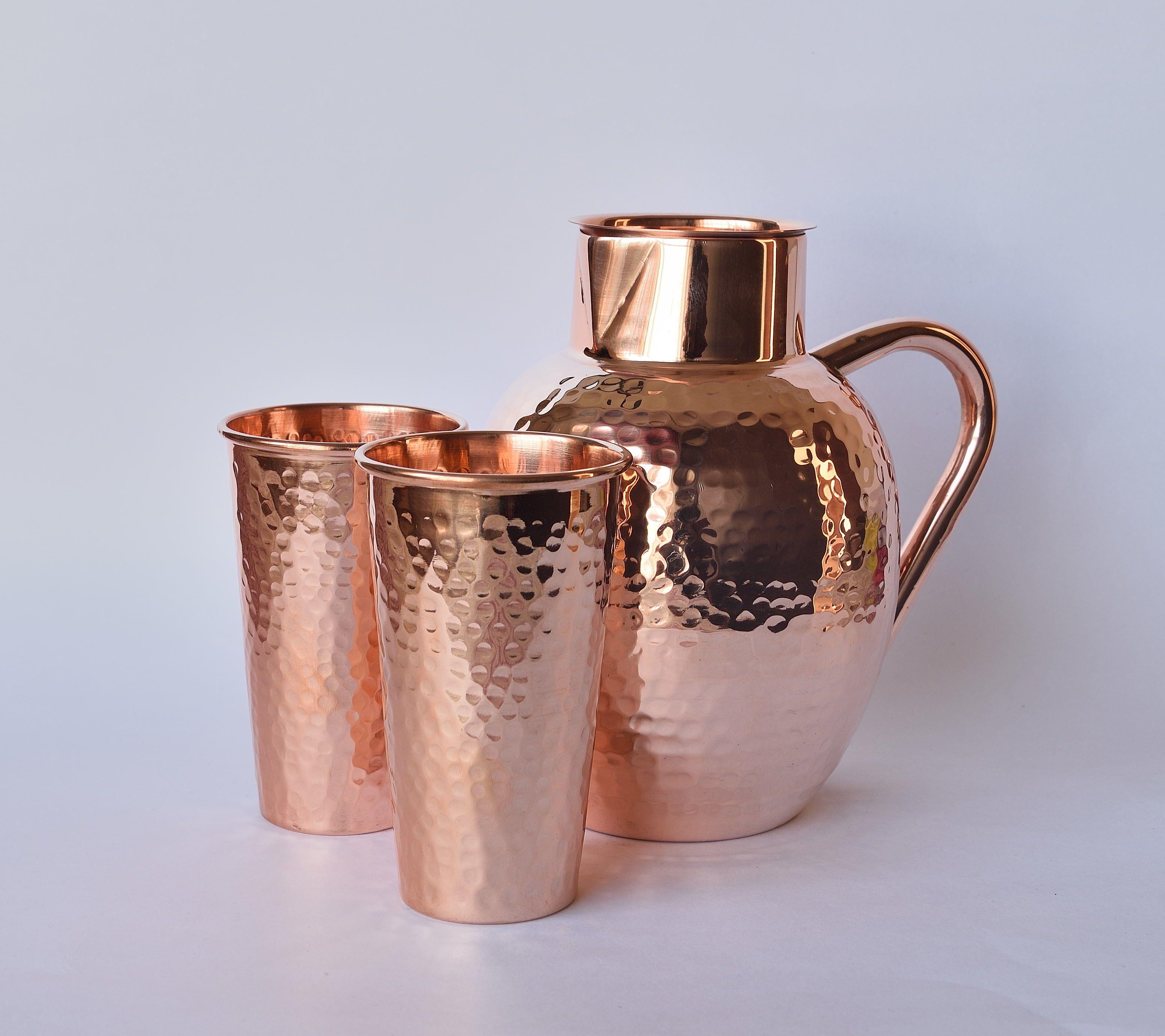 Daamisha pure copper jug 2 glass set copper jug glass