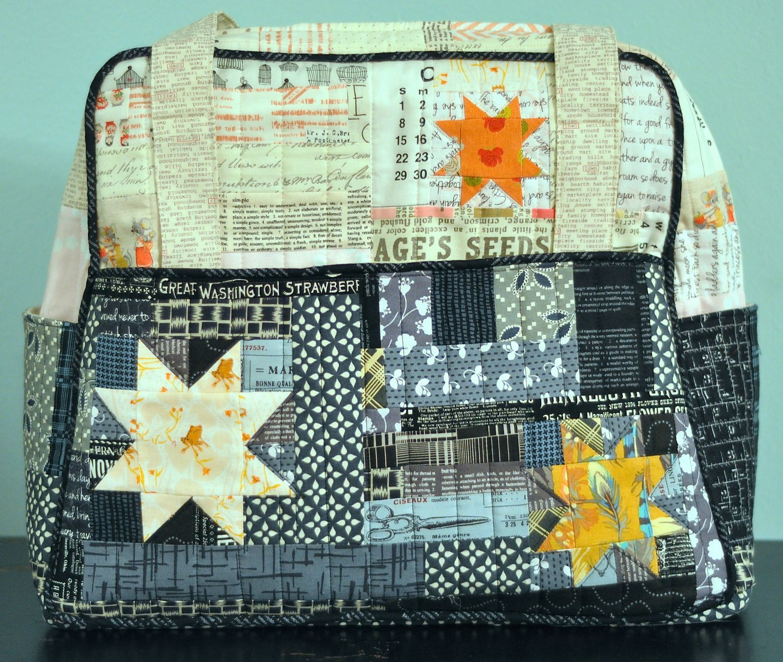 Patchwork weekender with wonky stars