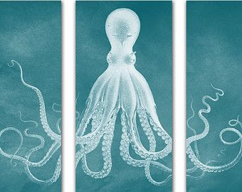 Printable Octopus Triptych Artwork Navy By ASouthernStateofMind · Coastal Wall  ArtNautical ...