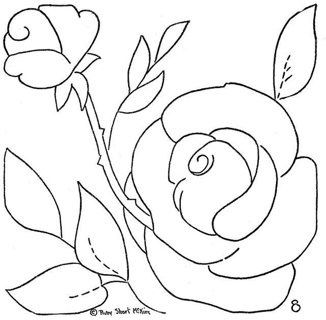 Flower quilt 8 - Rose | Bordado, Patrones y Dibujo