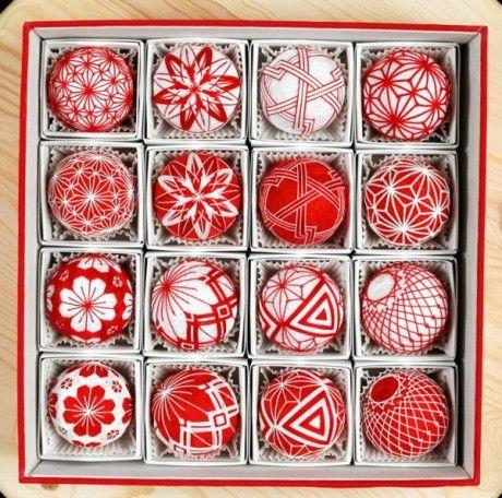 Temari~work well as Christmas tree ornaments Christmas Pinterest