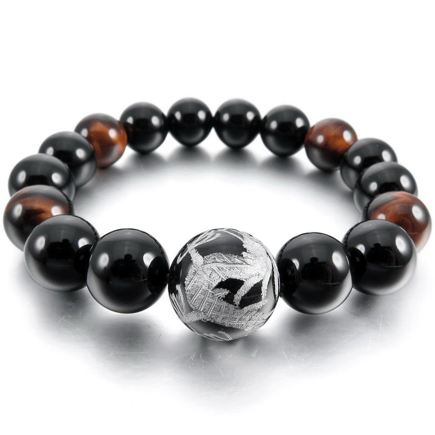 Men,Women's 12mm 14mm Bracelet Link Wrist Agate Black Silver Buddha Mala Beads -- For more information, visit now : Jewelry Trends