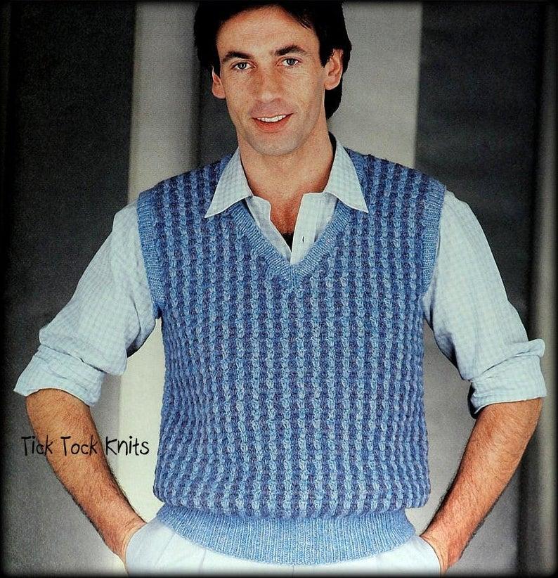 No 838 Men S Crochet Pattern Pdf 2 Color V Neck Vest Etsy In 2020 Crochet Vest Pattern Mens Vest Pattern Crochet Men