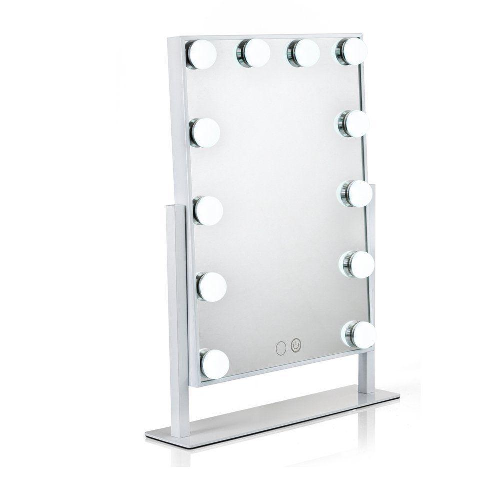 Miroir De Courtoisie Eclaire Waneway Avec Ampoules Led Intensite Reglable 12 X 3 W Et Touch Control Miroir Maquillage Miroir Avec Lumiere Miroir De Courtoisie