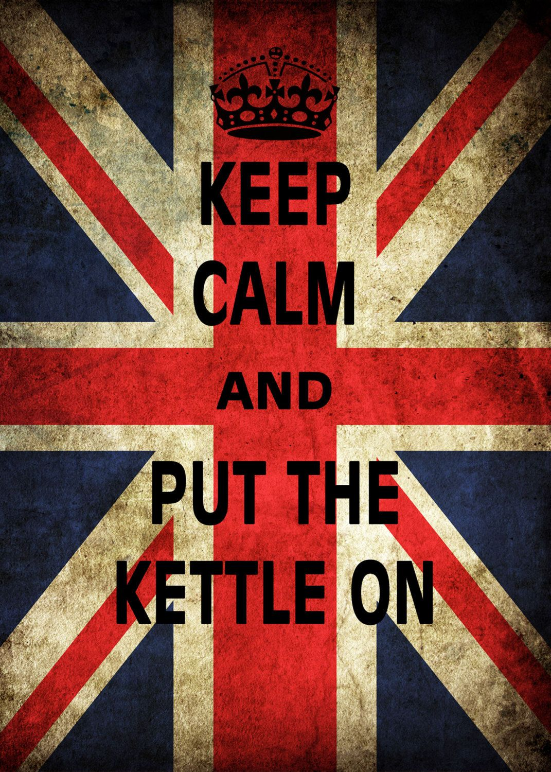 Vinyl Wall Art Poster Keep Calm and Put th Kettle on Union Jack Circle