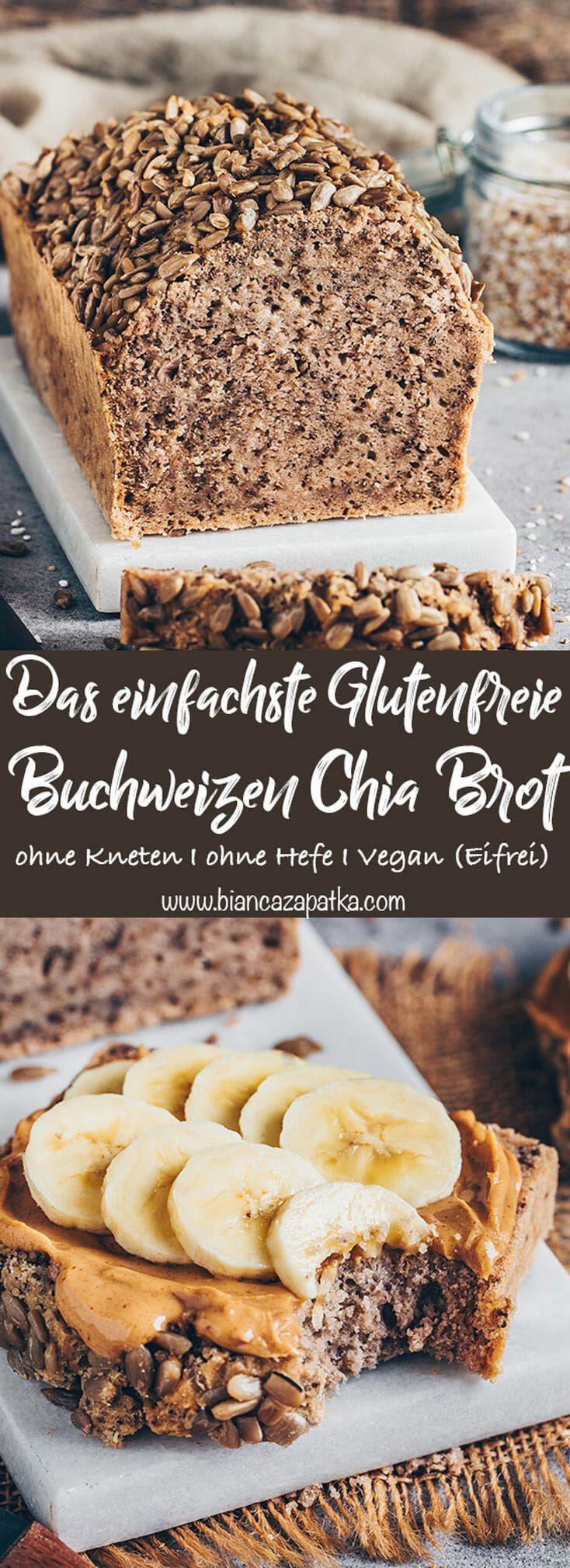 Dieses einfache Buchweizen-Chia-Brot Rezept ist von Natur aus glutenfrei, vegan, gesund und wird mit nur 3 Zutaten ohne Hefe und ohne Kneten hergestellt! Du benötigst keine außergewöhnlichen Zutaten oder spezielle Küchen-Geräte, denn der Brot-Teig ist schnell und einfach zusammengerührt! #brot #glutenfrei #veganerezepte #buchweizen #rezepte #essen #vegan #chia #chiasamen #einfacherezepte #backen #vegetarisch #veganbacken #eifrei #gesunderezepte | biancazapatka.com