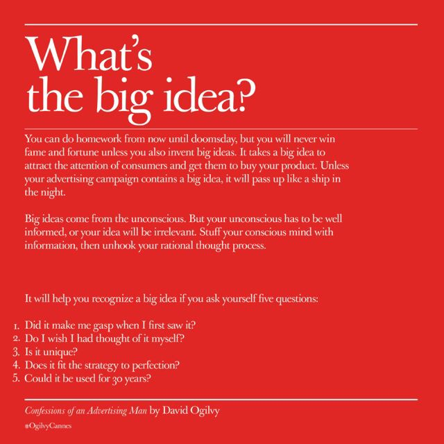 Pin By Christie Cordes On David Ogilvy What S The Big Idea Do Homework Advertising