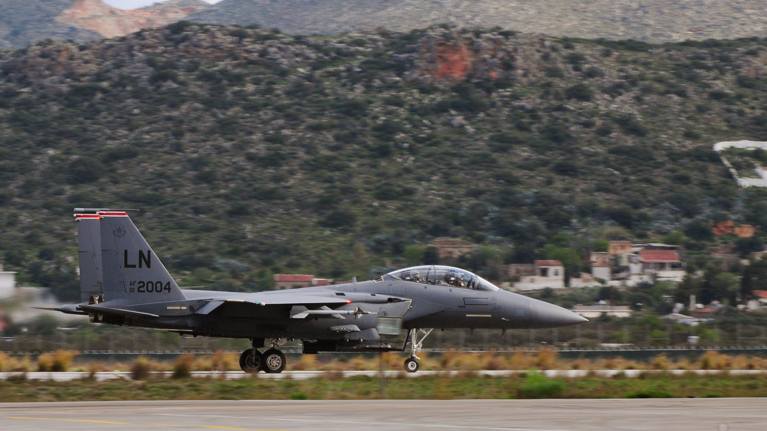 F-15E Strike Eagle taxis on the Souda Air Base, Greece, flightline while participating in joint war-fighting training with the Hellenic air force, Feb. 25, 2014. More than 250 Airmen deployed to Crete to work with NATO partners and build upon a strong military relationship. (U.S. Air Force photo by Staff Sgt. Thomas Trower/Released)